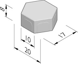 Poreuze betonstraatstenen zeshoek 20/17x10